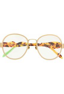 Percy Lau Óculos De Sol Oversized Com Lentes Coloridas - Dourado