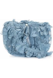 Yuhan Wang Ruffled Floral-Lace Crossbody Bag - Azul