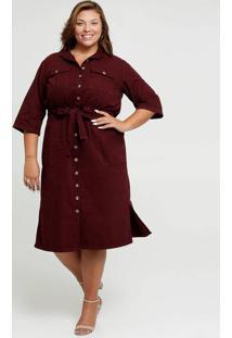 Vestido Feminino Chemise Sarja Amarração Plus Size