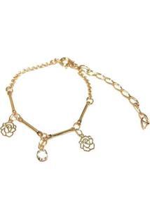 Pulseira Armazem Rr Bijoux Infantil Flor Cristal - Feminino-Dourado