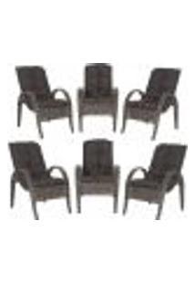 Cadeiras 6Un P/ Jardim Lazer Edicula Varanda Descanso Fibra E Tramas Napoli Plus Pedra Ferro A21