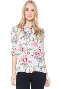 Camisa Facinelli By Mooncity Floral Off-White/Vermelha
