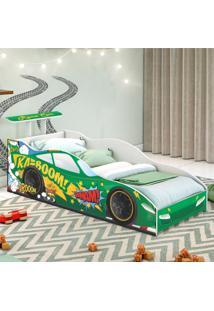 Cama Solteiro Carro Aerofã³Lio Verde Casah - Verde - Dafiti