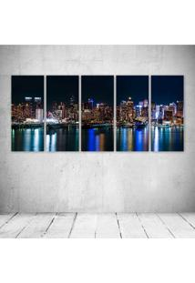Quadro Decorativo - Usa Skyscrapers Rivers New York City - Composto De 5 Quadros