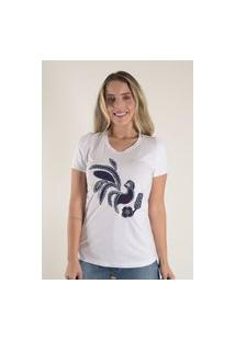 Blusa Mamorena T-Shirt Com Bordado Branco