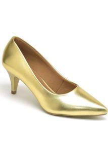 Scarpin Metalizado Casual Salto Baixo Ellas Online Feminino - Feminino-Dourado