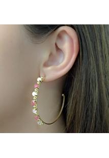 Brinco Argola Com Zircônias Pink E Rosa Banhado Em Ouro 18K