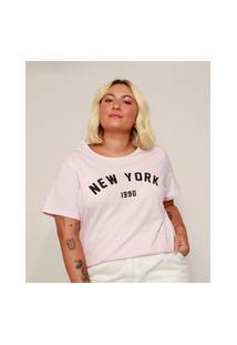"Camiseta Feminina Plus Size ""New York"" Manga Curta Rosa Claro"