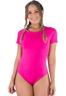 Body Mvb Modas Manga Curta Estampado Rosa