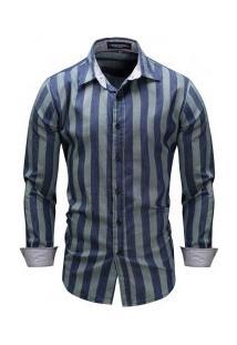 Camisa Masculina Listrado Manga Longa