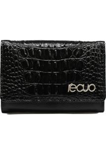 Carteira Em Couro Recuo Fashion Bag Preto/Croco