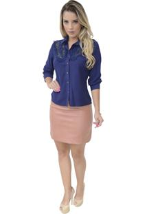 Camisa Mamorena Frente Com Aplicação Azul