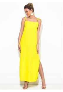 Vestido Longo Linho Amarelo
