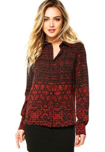 Camisa Manga Longa Ellus Satin Mosaico Preta/Vermelha