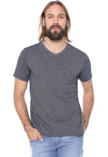 Camiseta Malwee Listrada Azul-Marinho/Branca