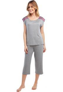 Pijama Capri Mescla Com Renda Cinza - Kanui