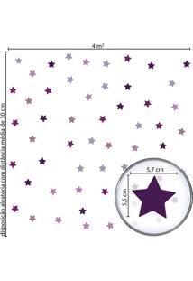 Adesivo De Parede Infantil Estrelas Roxas E Lilás - Tricae