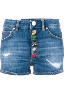 Dondup Shorts Jeans Com Detalhe Nos Botões - Azul