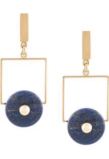 Crystalline Par De Brincos Com Lápis Lazuli - Dourado