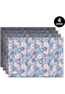 Jogo Americano Mdecore Floral 40X28 Cm Azul 4Pçs