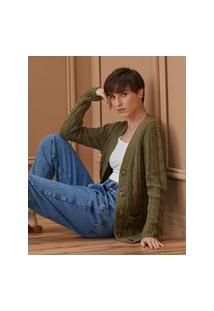 Amaro Feminino Cardigan Tricot Detalhe Trança, Verde Militar