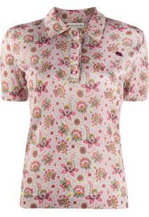 Etro Floral Short Sleeve Polo Top - Neutro