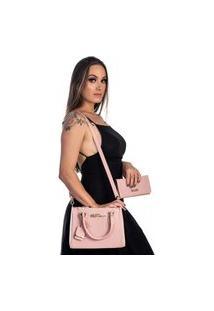 Kit Bolsa + Carteira Feminina Fashion Estilo Blogueira Rosa