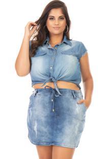 Camisa Feminina Jeans Cropped Com Amarração - Kanui