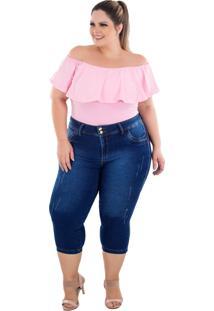 Calça Jeans Latitude Plus Size Cropped Joanine Azul - Kanui