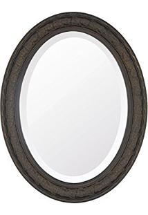 Espelho Oval Bisotê Marrom Rustico Grande