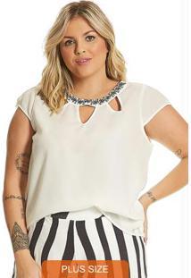 Blusa Feminina Plus Size Secret Glam Off White