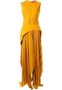 Solace London Vestido Anya Assimétrico - Amarelo