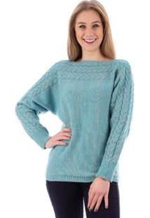 Blusa De Malha Gola Canoa Trança Feminina - Feminino-Azul