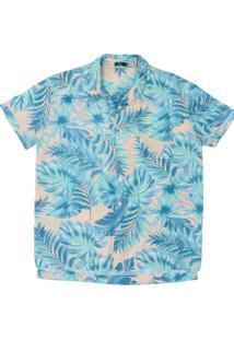 Camisa Uzu Floral Bege/Azul