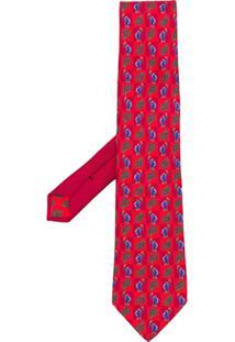 Etro Gravata Estampada - Vermelho