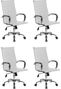 Conjunto Com 4 Cadeiras De Escritório Best Presidente Branco