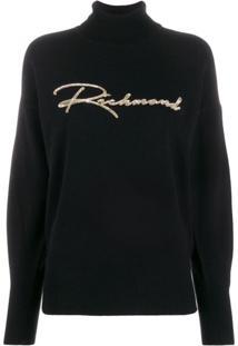 John Richmond Suéter Com Logo Bordado Em Paetês - Preto