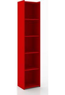 Estante Livreiro 4 Prateleiras Esm206 Retrô Movelbento Vermelho