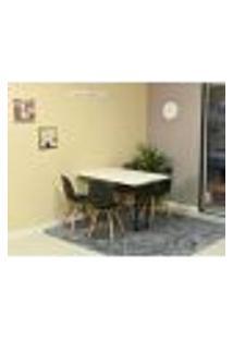Conjunto De Mesa Dobrável Retrátil 120 X 75 Branca + 4 Cadeiras Eiffel - Preta