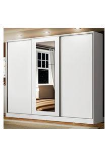 Guarda Roupa Casal 100% Mdf Madesa Eros 3 Portas De Correr Com Espelho Branco