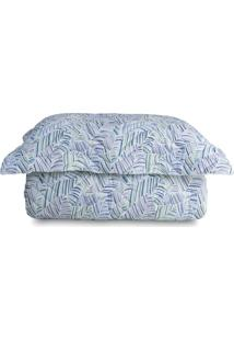 Conjunto De Cobre-Leito Leaves Queen Size- Azul & Verde Sultan