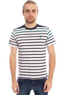 Camiseta Aleatory Listrada Fonne Masculina - Masculino-Branco