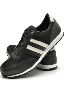 Sapatênis Sapato Casual Juilli Com Cadarço Masculino 01L Preto