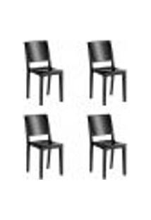 Kit 4 Cadeiras Hydra Plus Em Polipropileno - Kappesberg - Preto