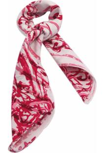 Lenço Smm Acessórios Abstrato Rosa E Branco
