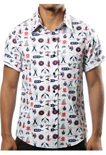 Camisa Camaleão Urbano Marinheiro Náutica Branca