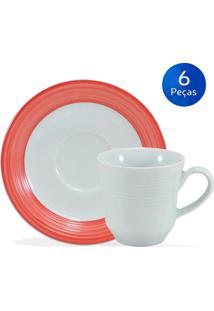 Conjunto De Café C/ Pires Saturno Borda Vermelha 6 Pçs - Schmidt - Branco / Vermelho