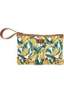 Bolsa Clutch Santa Lolla Lona Banana Feminina - Feminino-Branco