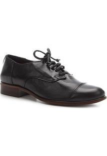 Oxford Couro Shoestock Fachete Feminino - Feminino-Preto