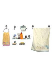 Kit De Acessórios Para Banheiro 7 Peças Mondo Cristal Aquaplás